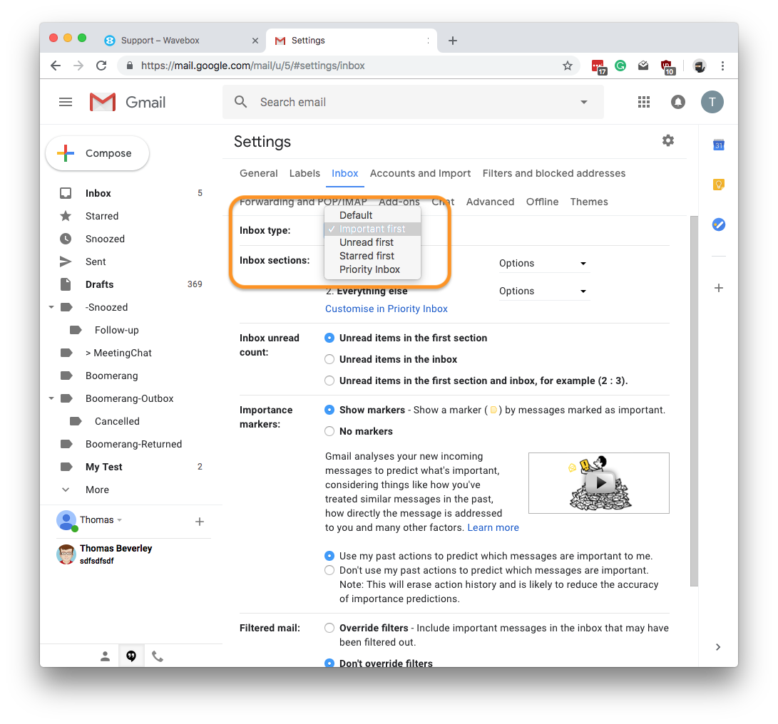 Wavebox - Gmail unread counts